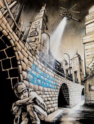 """""""Just a bit blue"""" -Bild 2011. Mischtechnik auf Holz, 140 cm x 90 cm"""