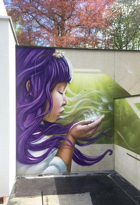 , Spray can on concrete, Mechelen, Belgium