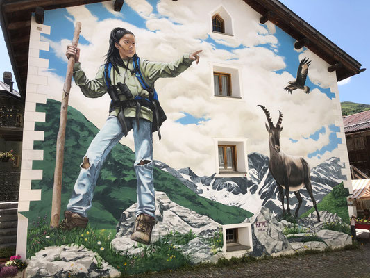 """Mural """"Andiamo"""", 2019. Bivio, Switzerland. 11m x 12.0m. Acrylic and Spraycan"""