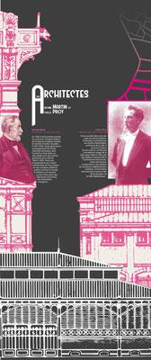 Texte de niveau 1, visuel conçu sur fond gris pour une cohérence de couleur avec l'ensemble de la salle, 90x240 cm