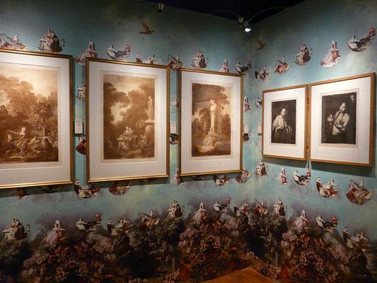 papier peint réalisé à partir d'œuvres de Fragonard