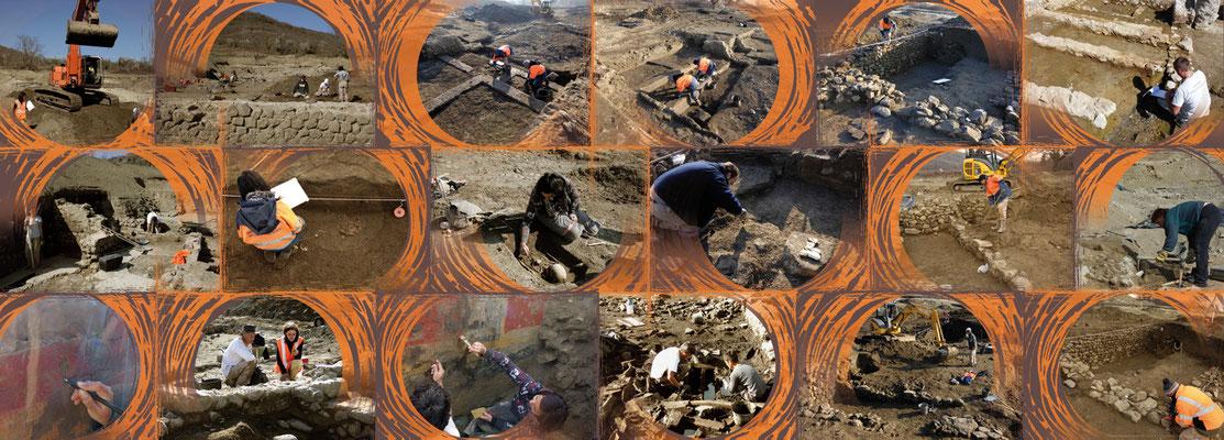 visuel pour panneau de 9 m avec composition de photos de fouilles