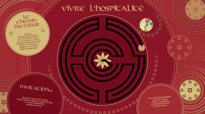 Visuel pour panneau avec labyrinthe découpé.
