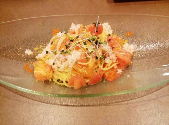 フレッシュトマトのからすみの冷製パスタ