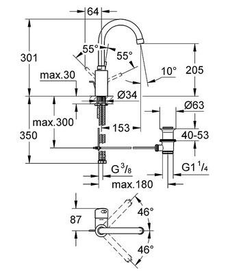 Waschtisch-Einhebelmischer mit hohem Schwenkauslauf u. Ablaufgarnitur, Maße