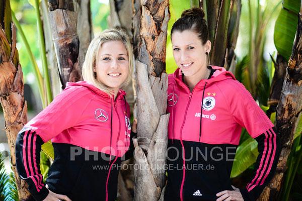Svenja Huth und Verena Faißt beim Algarve Cup 2013; © Photolounge-Lauer