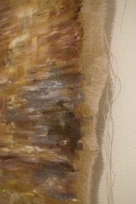 Senza Titolo 2018, olio su tela grezza, particolare
