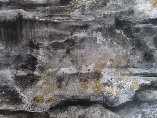 Gardens of Stone (detail), 2017, charcoal, bloodwood sap and sand on paper, cm 150 x 200