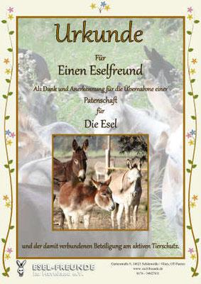 Patenschaftsurkunde - Standard - Eselfreunde im Havelland e. V., Brandenburg - Eselwandern, Eselkurs