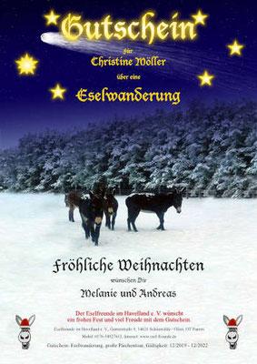 Gutschein - Weihnachtlich - Eselfreunde im Havelland e. V., Brandenburg - Eselwandern, Eselkurs