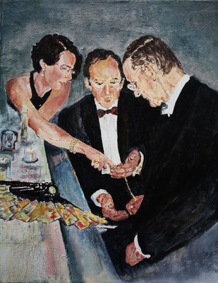 """Gesellschaft"", Acryl a. Leinw., 40 x 50, Kat.-Nr. 08270"
