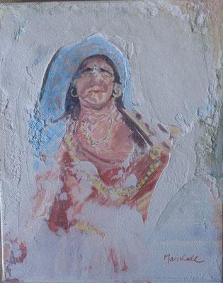 """Berberfrau"", Acryl-Sandbett a. Leinw., 40 x 50, Kat.-Nr. 08282"