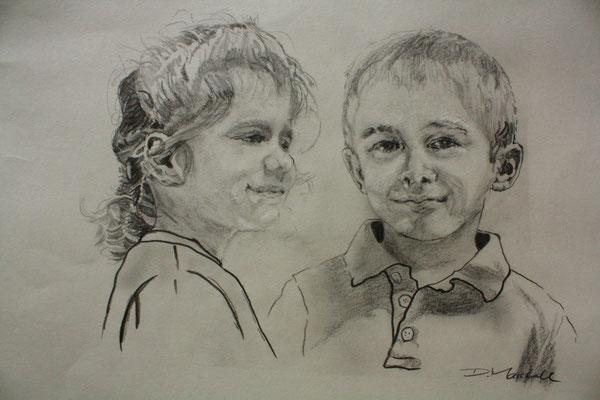 """""""Geschwister""""Graphit auf Papier, 35 x 40, Kat.-Nr. 11357"""
