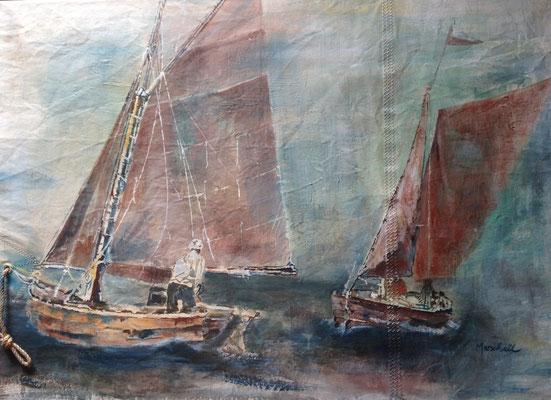 """""""Zwei Freunde"""", Acryl auf Segel, 80 x 120, Kat.-Nr.  03213"""