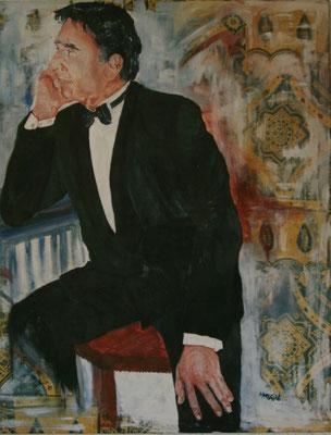 """""""Gabriel in Gustis Bar"""",  Acryl a. Tuch, 110 x 130,  Kat.Nr. 00181"""