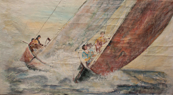 """Zweikampf"", Acryl auf Segel, 50 x 90, Kat.-Nr. 08283"
