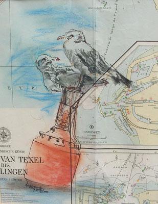 """""""Möwenrast vor Texel """",  MT auf Seekarte, 40 x 30,  Kat.-Nr. 000190"""