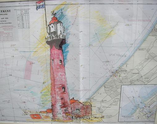 """""""LT Hoek van Holland"""",  MT auf Seekarte, 50 x 60, Kat.-Nr. 00196"""