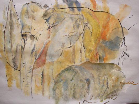 """""""Elefantenvision"""", Acryl a. Papier , 59 x 42, Kat.-Nr. 10331"""