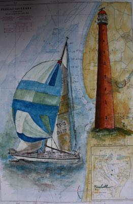 """LT Den Helder"", Aquarell a. Seekarte,38 x 54, Kat.-Nr. 12410"