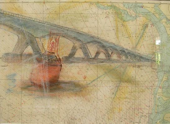 """Ost-West-Brücke"",  MT auf Seekarte, 50 x 60, Kat.-Nr.  00162"