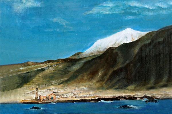 """Teide im Schnee"", Öl auf Leinwand, 40 x 50, Kat.-Nr. 11335"