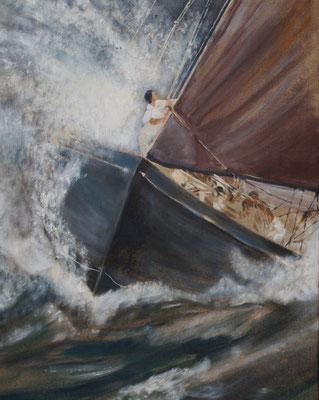 """Kampf durch die Wellen"", Acryl a. Leinw., 90 x 70, Kat.-Nr.  10316"