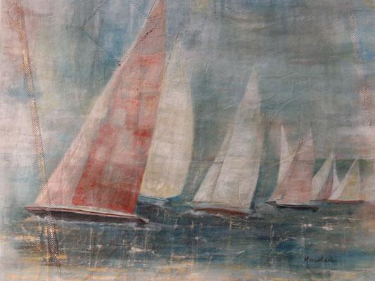 """Regatta II""; Acryl auf Segel,  90 x 110, Kat.-Nr. 03208"