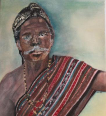 """""""Häuptling Indonesier"""", Öl a. Leinw., 50 x 60, Kat.Nr. 00079"""