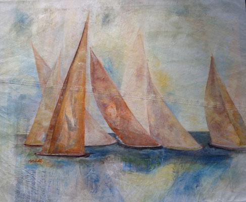 """Rote Sege"",  MT auf Segel, 90 x 110, Kat.-Nr. 02203"