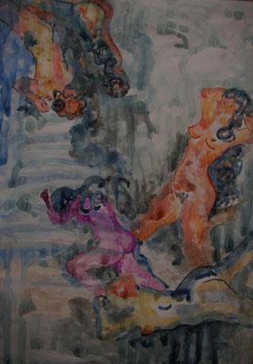 """Tanz i. Wasser"", Aquarell a. Papier, 35 x 50, Kat.-Nr. 00004 B"