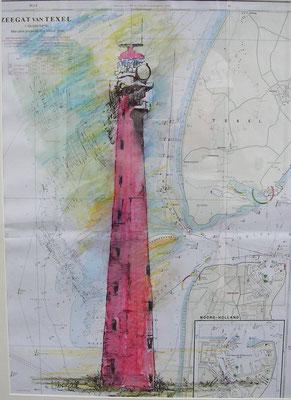 """LT Den Helder"", Aquarell a. Seekarte, 60 x 50, Kat.-Nr. 00197"