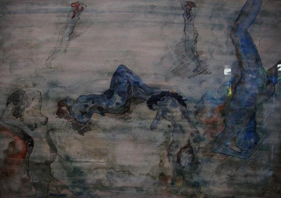 """Tanz i. Wasser"", Aquarell a. Papier, 50 x 35, Kat.-Nr. 00004 C"