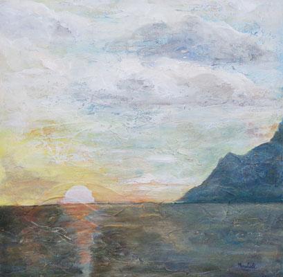"""""""Abend über dem Atlantik"""", Acryl a. Leinw.,  70 x 70, Kat.-Nr. 15468"""