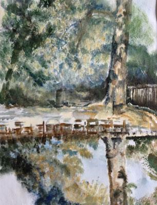 """""""See im Park"""", Öl auf Papier, 42 x 29,5, Kat.-Nr. 08271"""