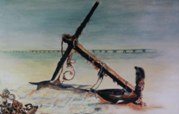 """""""Strandgut"""", Öl a. Malpappe, 80 x 100, Kat.-Nr. 00127"""