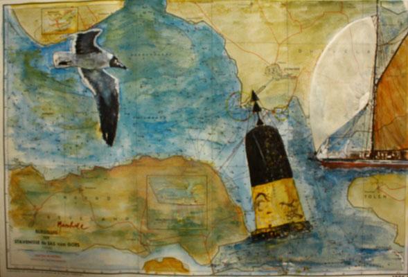 """""""Nord-Kardinal-Zeichen"""", Aquarell a. Seekarte, 35 x 50, Kat.-Nr.  12379"""