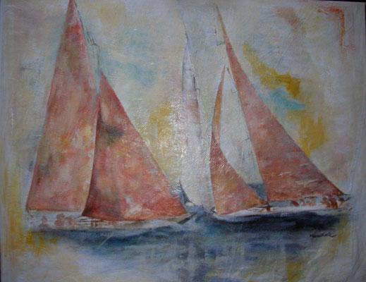 """Begegnung auf dem Meer"", Acryl auf Segel, 80 x 100, Kat.-Nr. 11350"