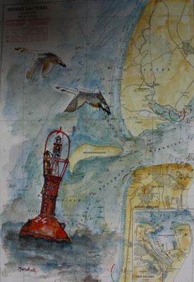 """""""Tonne 24"""", Aquarell a. Seekarte, 35 x 54,  Kat.-Nr. 12374"""