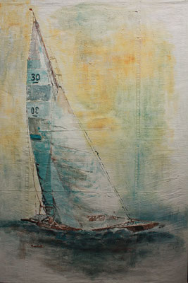 """Segler's Traum II"", Acryl auf Segel, 120 x 80, Kat.-Nr. 04225"