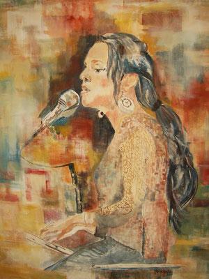 """""Norah Jones"", Acryl a. Tuch, 80 x 105, Kat.-Nr. 08264"