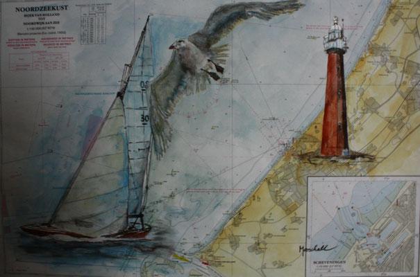 """""""LT Scheveningen"""", Aquarell a. Seekarte,  35 x 50, Kat.-Nr. 12408"""