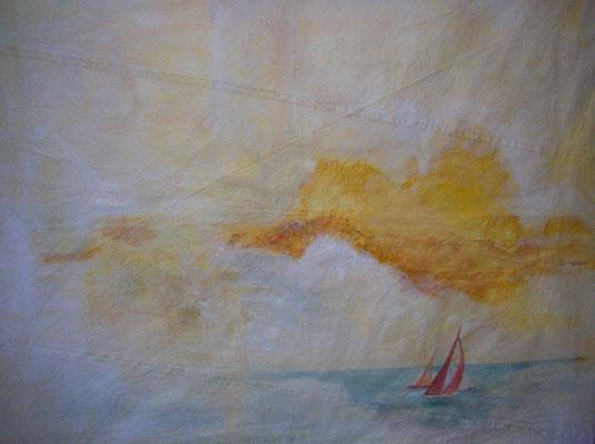 """""""Kurs 180°"""", Acryl a. Segel, 100 x 90, Kat.-Nr. 07249"""