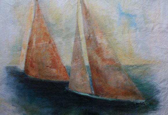 """Regatta V"", Acryl auf Segel, 90 x 110,  Kat.Nr.  07248"