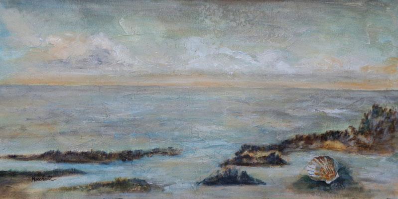 """Muscheln in meiner Hand V "", Acryl a. Leinw., 50  x  100, Kat.-Nr. 15469"