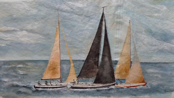 """Drei Regattasegler"", Acryl auf Segel, 50 x 105, Kat.-Nr. 13456"