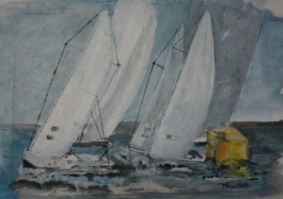 """""""Regatta um die gelbe Tonne"""",  Acryl auf Papier, 30 x 40, Kat.-Nr.  13449"""
