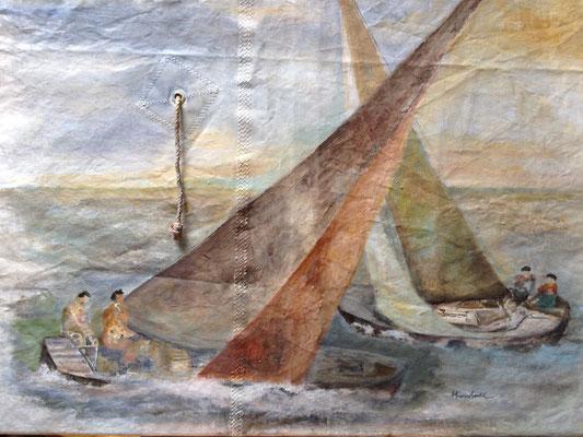 """""""Begegnung a. d. Meer"""", Acryl auf Segel, 80 x 100, Kat.-Nr. 11350"""