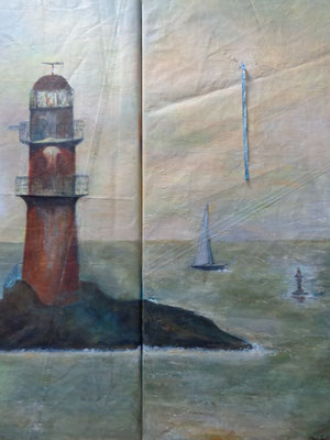"""Dyptichon"",  Acryl auf Segel,   120 x 40 x 50, Kat.-Nr. 15492"