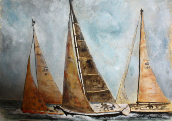 """Geschwaderfahrt"", Acryl auf Segel, 50 x 110, Kat.-Nr. 11360"